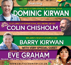 """<h2><Font color=""""#5D87A1"""">Celtic Country <br></h2>Featuring Dominic Kirwan, Barry Kirwan, Eve Graham, Morna Young<br><br>"""